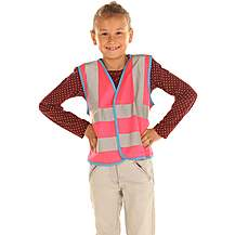 image of Edz Kidz Hi Visibility Vest For Kids, Pink, 10-12 Years