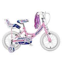 image of Concept Princess Kids Girls Pink 12inch Wheel Stabilisers Bike Dolly Seat Pink