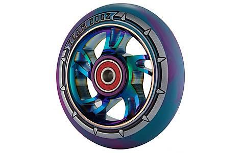 image of Team Dogz 100mm Alloy Rainbow Wheels - Purple & Blue Mixed 88a Pu