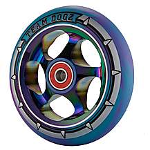 image of Team Dogz 110mm Alloy Rainbow Wheels - Purple & Blue Mixed 88a Pu