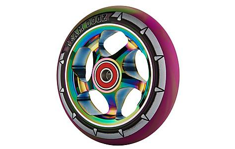 image of Team Dogz 110mm Alloy Rainbow Wheels - Purple & Green Mixed 88a Pu