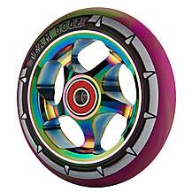 image of Team Dogz 110mm Alloy Rainbow Wheels - Purple & Green Mixed 88a Pu