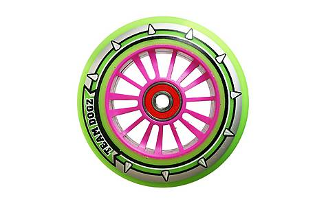 image of Team Dogz 100mm Nylon Wheels - Pink Core Green Pu