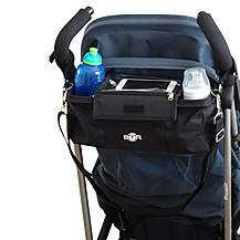 image of Btr Pram Buggy Buddy Stroller Organiser Storage Bag With Mobile Phone Holder & Separate Rain Cover - Black - Water Resistant