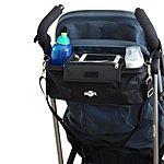 image of Btr Pram Buggy Buddy Stroller Organiser Storage Bag With Mobile Phone Holder & Separate Rain Cover - Black - Water Resistant