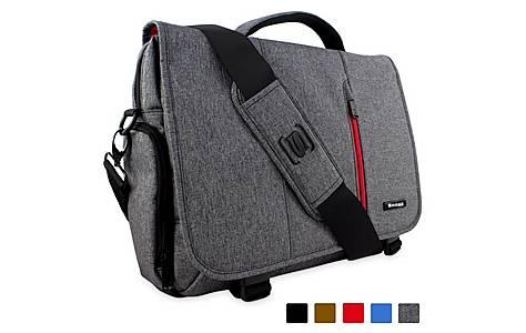 """image of Crossbody Shoulder Messenger Bag In Grey - Fits Laptops Up To 15.6"""""""