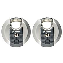 image of Master Lock Excell Stainless Steel Discus 70mm Padlock Keyed Alike X 2