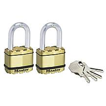 image of Master Lock Excell Brass Finish 50mm Padlock 4-pin - 38mm Shackle Keyed Alike X 2