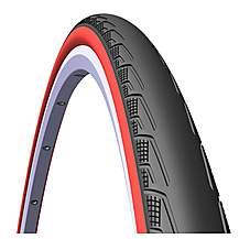 image of Rubena Syrinx Road Tyre, 700 X 23c (23-622), Black/red Sidewall