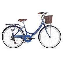 image of Kingston Dalston, Traditional Shopper Bike, 6 Speed, Ladies, Blue, 19""
