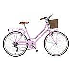 image of 18in Viking Belgravia, 6 Speed, 26in Wheel Ladies Classic Style Bike, Pastel Pink