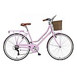 image of 18in Viking Belgravia, 6 Speed, 26in Wheel Ladies Classic Style Bike, Pastel Pink