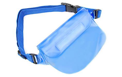image of Duragadget All-purpose Blue Splash-proof Waist Bag / Dry Pouch For Phones, Cameras & Valuables