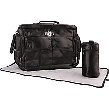 image of BTR Baby Changing Parent Bag With Change Mat and Bottle Holder, Black