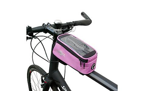 image of Btr Bicycle Frame Bag With Mobile Phone Pocket, Pink