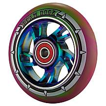 image of Team Dogz 100mm Alloy Rainbow Wheels - Purple & Green Mixed 88a Pu