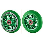 image of Team Dogz 100mm Alloy Swirl Wheels - Green Core Green  Pu