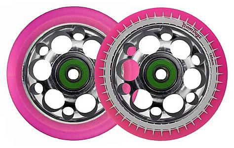 image of Team Dogz 100mm Silver Alloy Drilled Core Wheels - Pink Pu