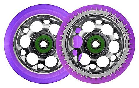 image of Team Dogz 100mm Silver Alloy Drilled Core Wheels - Purple Pu