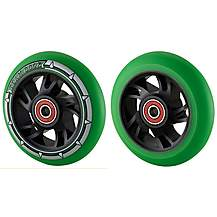 image of Team Dogz 100mm Alloy Swirl Wheels - Black Core Green  Pu