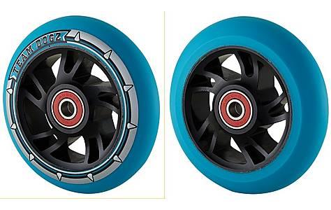 image of Team Dogz 100mm Alloy Swirl Wheels - Black Core Blue Pu