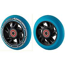 image of Team Dogz 100mm Alloy Swirl Wheels - Black Core Blue Pu