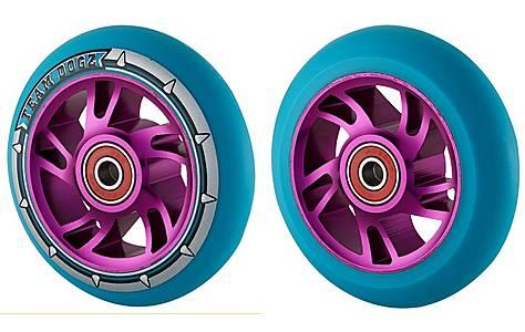image of Team Dogz 100mm Alloy Swirl Wheels - Purple Core Blue Pu