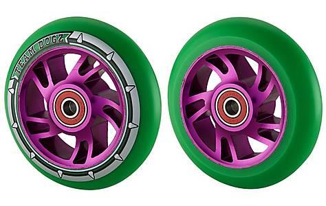 image of Team Dogz 100mm Alloy Swirl Wheels - Purple Core Green Pu