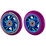 image of Team Dogz 100mm Alloy Swirl Wheels - Blue Core Purple Pu