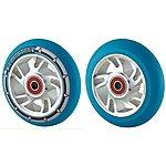 image of Team Dogz 100mm Alloy Swirl Wheels - Silver Core Blue Pu
