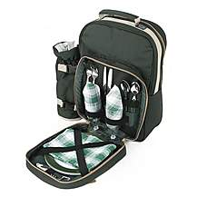 image of Greenfield Collection Luxury Picnic Backpack Hamper for Two People in Forest Green