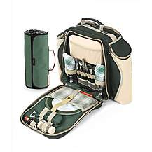 image of Greenfield Collection Deluxe Picnic Backpack Hamper for Two People in Forest Green with Matching Picnic Blanket
