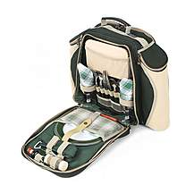 image of Greenfield Collection Deluxe Picnic Backpack Hamper for Two People in Forest Green