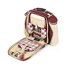 image of Greenfield Collection Deluxe Picnic Backpack Hamper For Two People in Mulberry Red