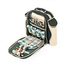 image of Greenfield Collection Deluxe Picnic Backpack Hamper for Four People in Forest Green