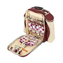 image of Greenfield Collection Deluxe Picnic Backpack Hamper for Four People in Mulberry Red