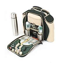 image of Greenfield Collection Super Deluxe Picnic Backpack Hamper for Two People in Forest Green