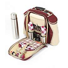 image of Greenfield Collection Super Deluxe Picnic Backpack Hamper for Two People in Mulberry Red