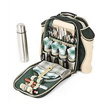 image of Greenfield Collection Super Deluxe Picnic Backpack Hamper for Four People in Forest Green