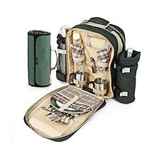 image of Greenfield Collection Super Deluxe Picnic Backpack Hamper for Two People in Forest Green with Matching Picnic Blanket