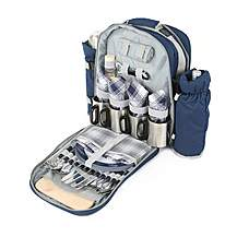 image of Greenfield Collection Super Deluxe Picnic Backpack Hamper for Four People in Midnight Blue