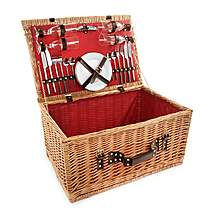 image of Greenfield Collection Newbury Willow Picnic Hamper for Four People