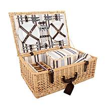 image of Greenfield Collection Beaulieu Willow Picnic Hamper for Four People