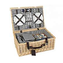 image of Greenfield Collection Cheltenham Willow Picnic Hamper for Four People