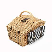 image of Greenfield Collection Somerley Willow Picnic Hamper for Four People with Matching Blanket