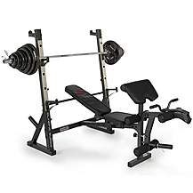 image of Marcy Diamond Elite Olympic Weight Bench With 140kg Weight Set