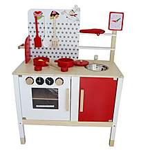 image of Kidzmotion La Petite Cuisine Deluxe Unisex Wooden Pretend Kids Toy Kitchen
