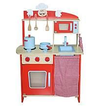 image of La Cuisine Moyen (medium) Unisex Red Wooden Toy Pretend Play Kitchen