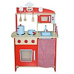 image of Kidzmotion La Cuisine Moyen Deluxe Unisex Wooden Pretend Kids Toy Kitchen