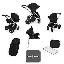 image of Ickle Bubba Stomp V3 AIO + Isofix Base Black On Silver